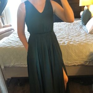 Banana Republic Satin Emerald Green Dress